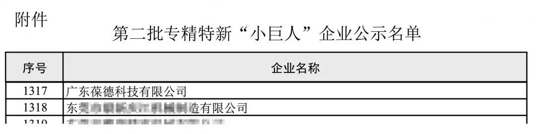 葆德入选工信部2020专精特新企业